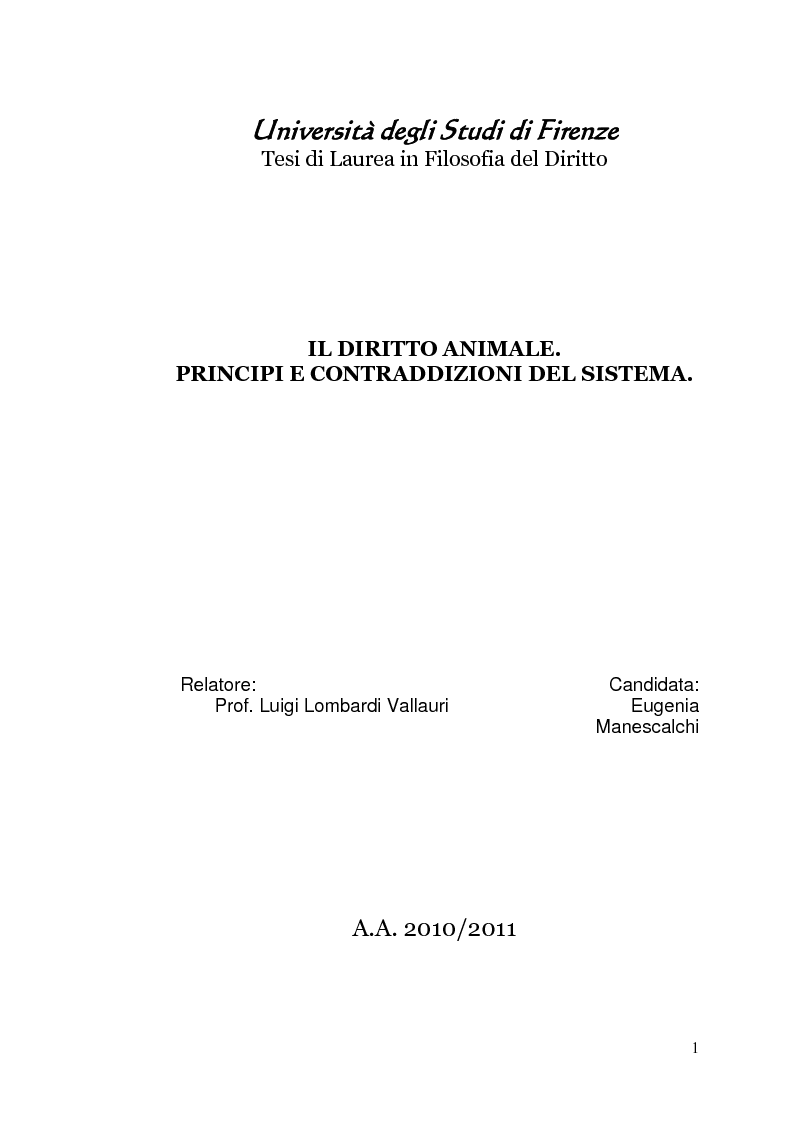 Anteprima della tesi: Il diritto animale. Principi e contraddizioni del sistema., Pagina 1