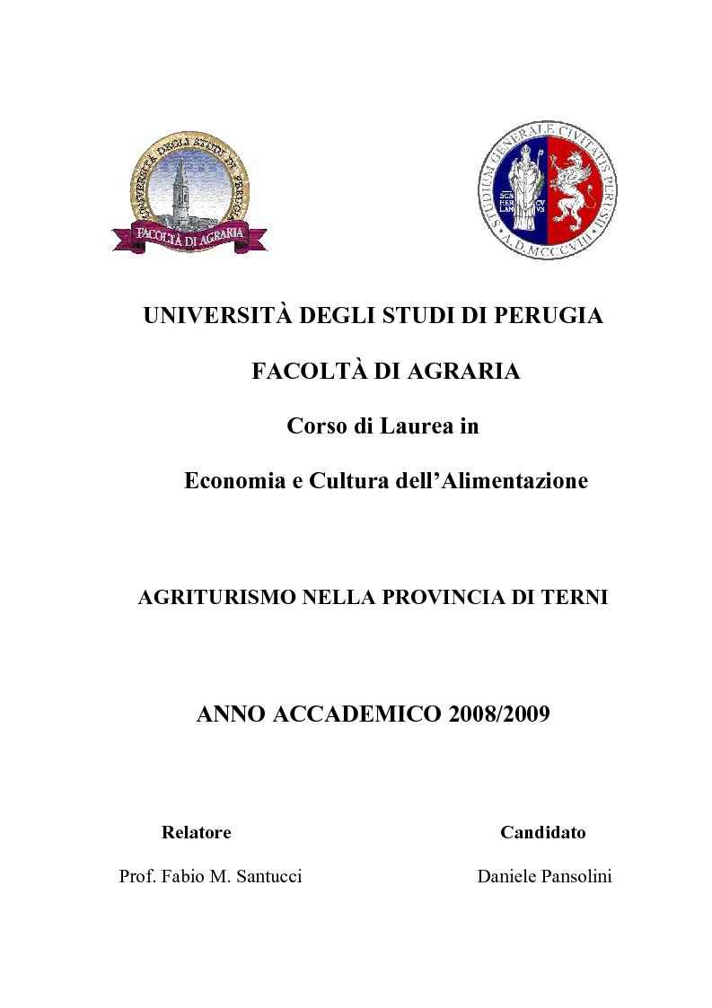 Anteprima della tesi: Agriturismo nella Provincia di Terni - Legislazione e trend, Pagina 1