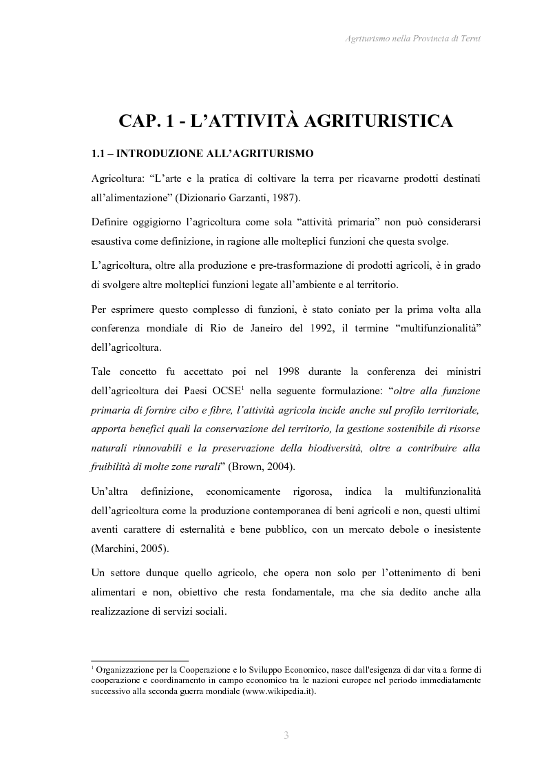 Anteprima della tesi: Agriturismo nella Provincia di Terni - Legislazione e trend, Pagina 4