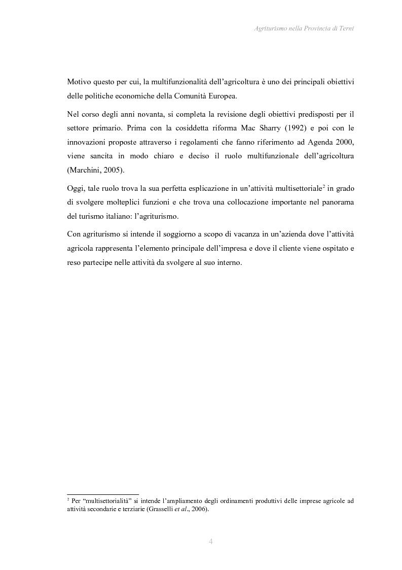 Anteprima della tesi: Agriturismo nella Provincia di Terni - Legislazione e trend, Pagina 5