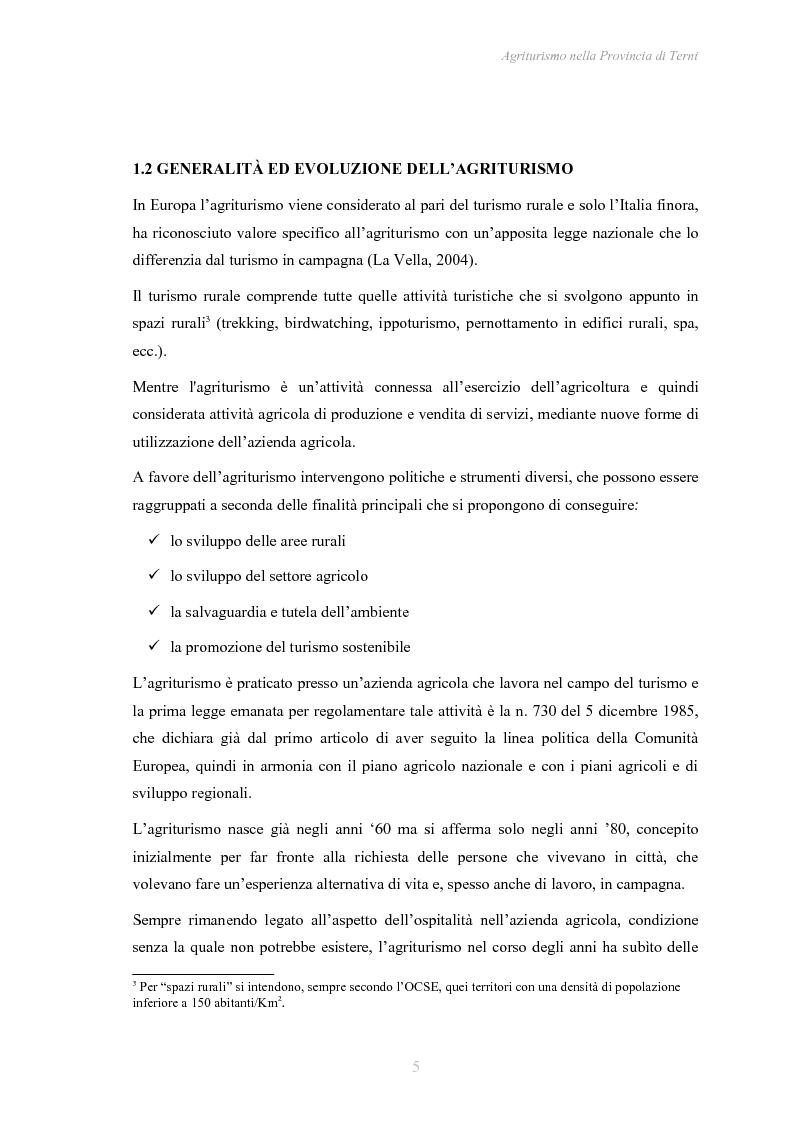 Anteprima della tesi: Agriturismo nella Provincia di Terni - Legislazione e trend, Pagina 6