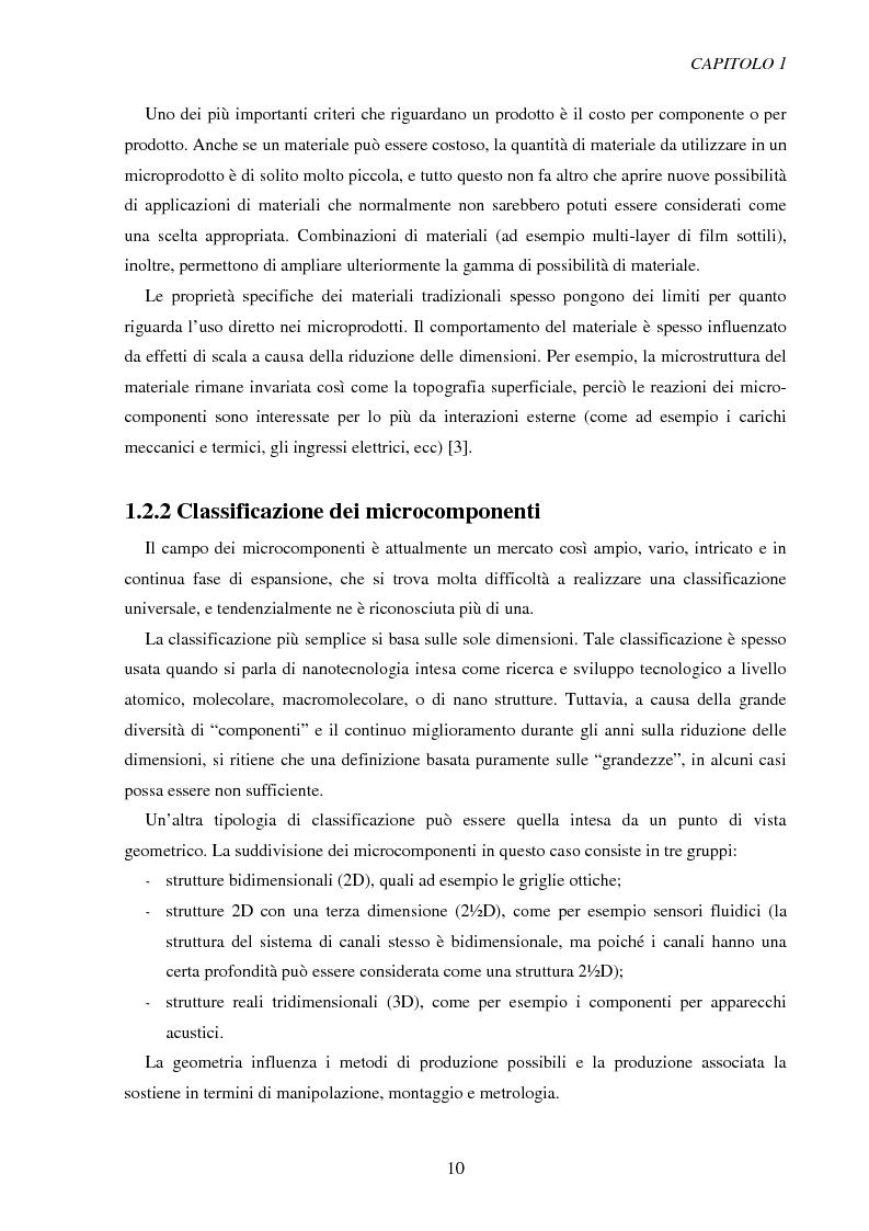Anteprima della tesi: Metodologie di caratterizzazione e qualificazione dimensionale e superficiale di microcomponenti., Pagina 11