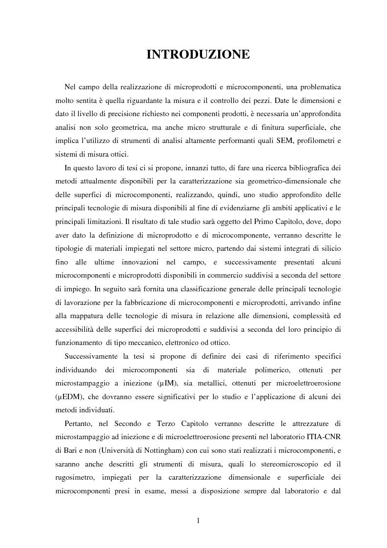 Anteprima della tesi: Metodologie di caratterizzazione e qualificazione dimensionale e superficiale di microcomponenti., Pagina 2