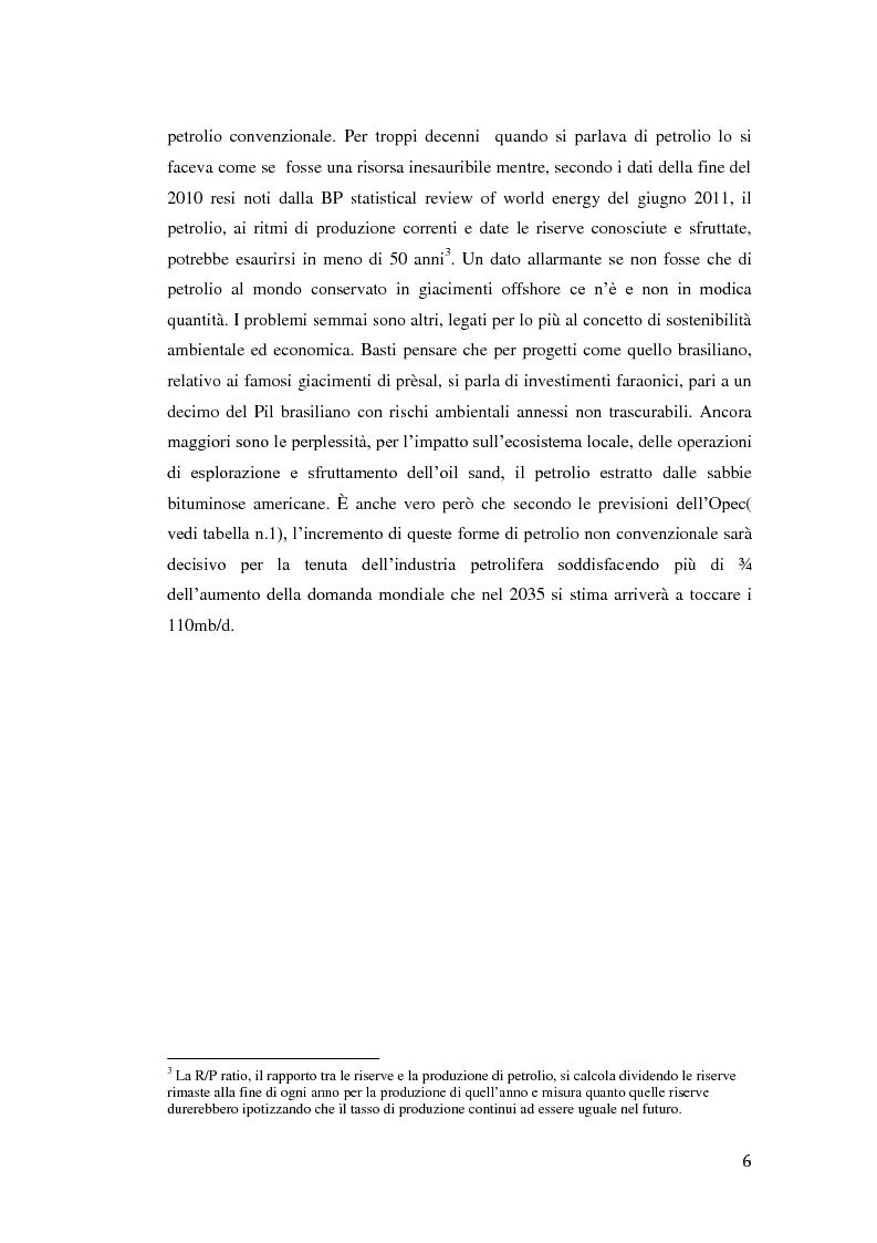 Anteprima della tesi: Sviluppi futuri del mercato petrolifero: nuovi scenari geopolitici e geostrategici, Pagina 3