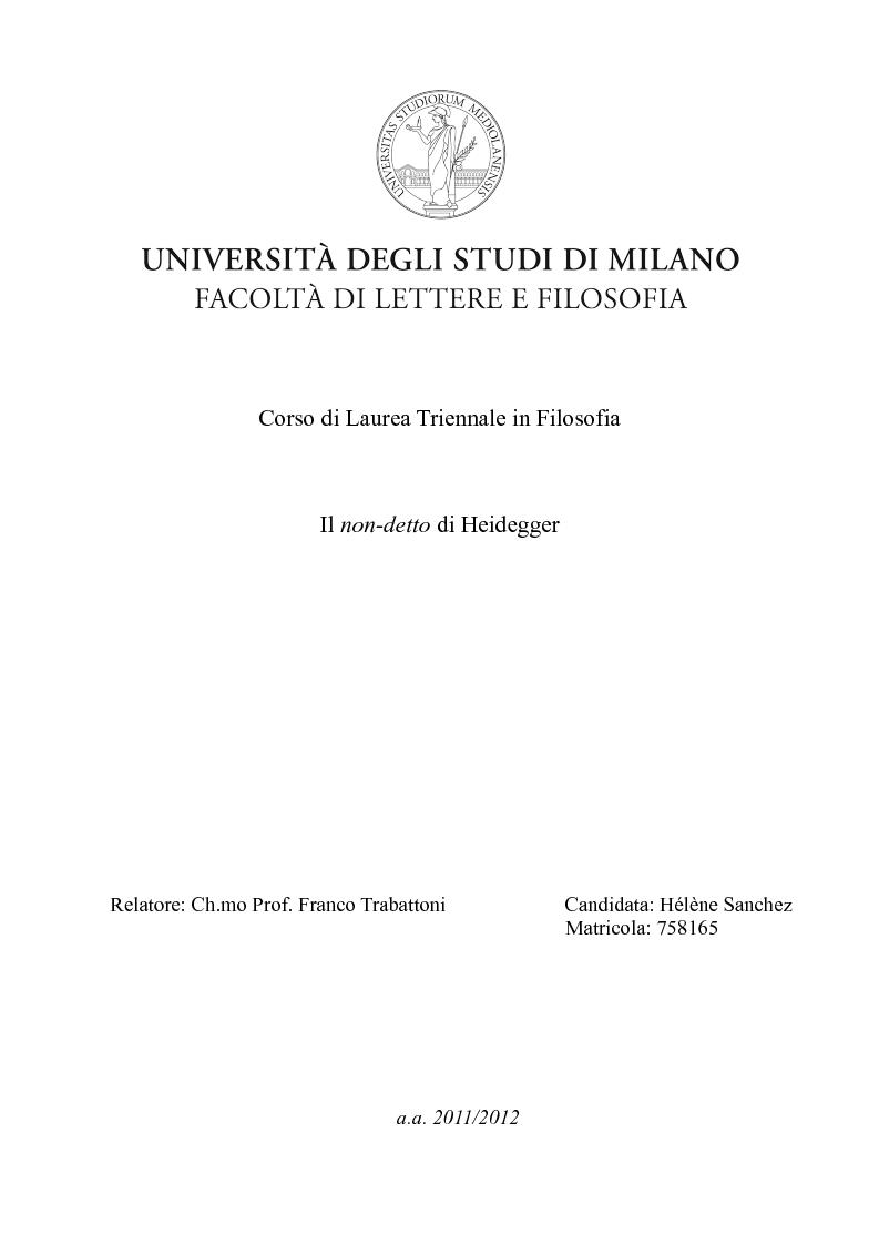 Anteprima della tesi: Il non-detto di Heidegger , Pagina 1