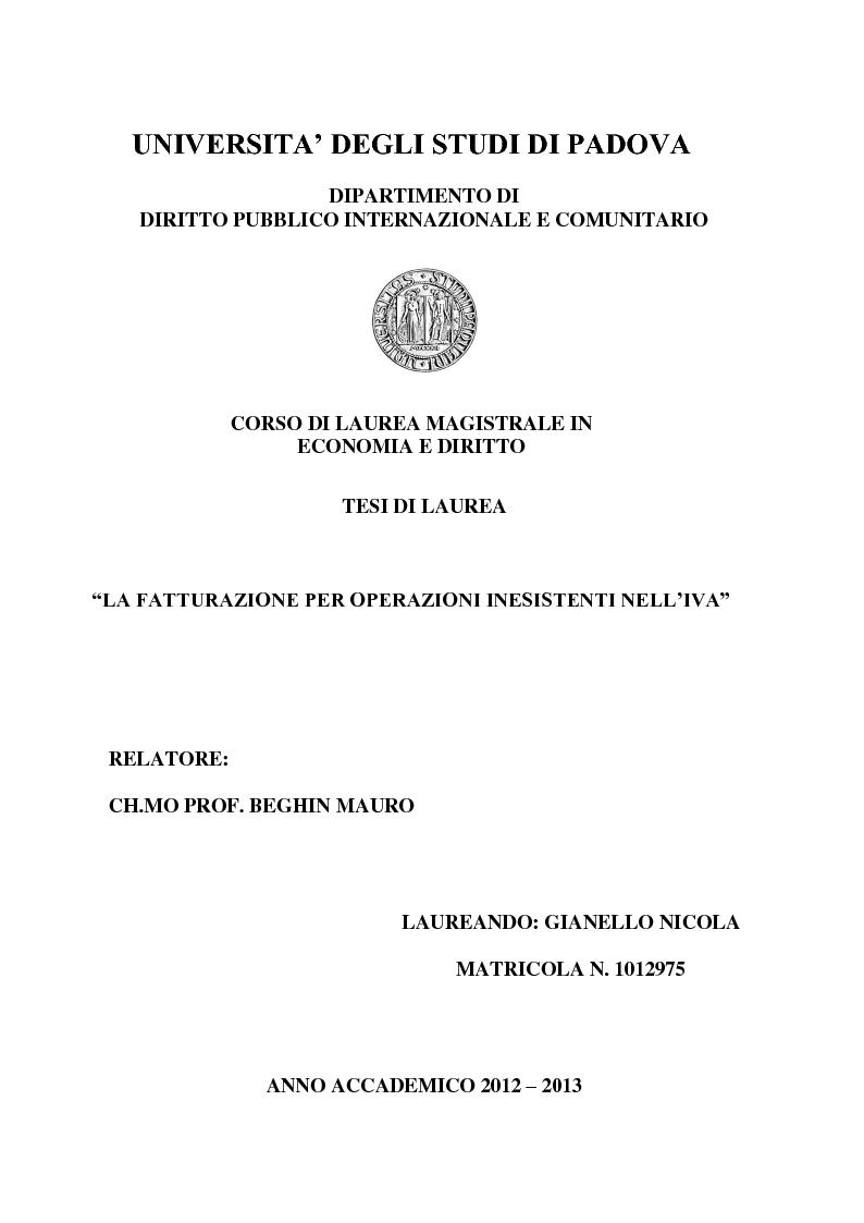 Anteprima della tesi: La Fatturazione per operazioni inesistenti nell'IVA, Pagina 1