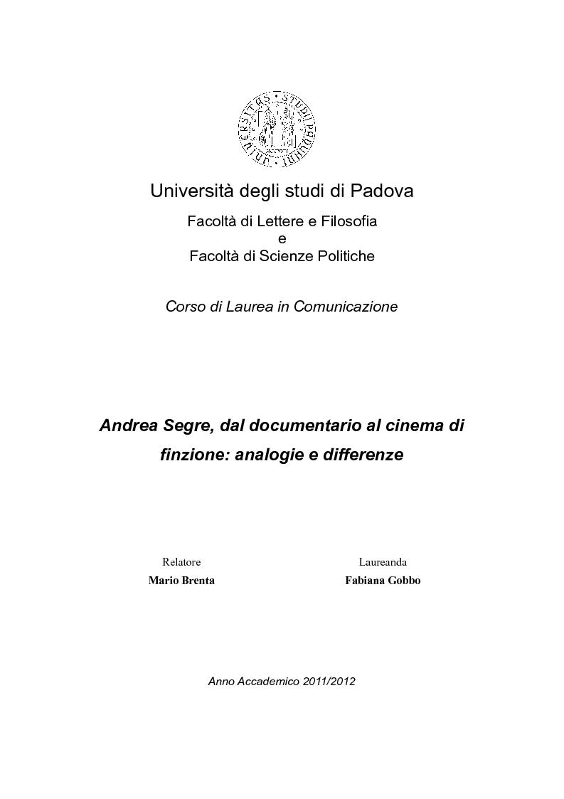 Anteprima della tesi: Andrea Segre, dal documentario al cinema di finzione: analogie e differenze, Pagina 1