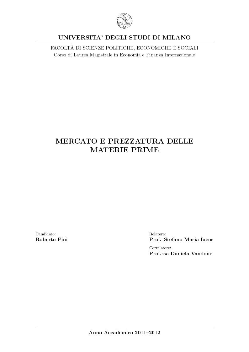 Anteprima della tesi: Mercato e prezzatura delle materie prime, Pagina 1