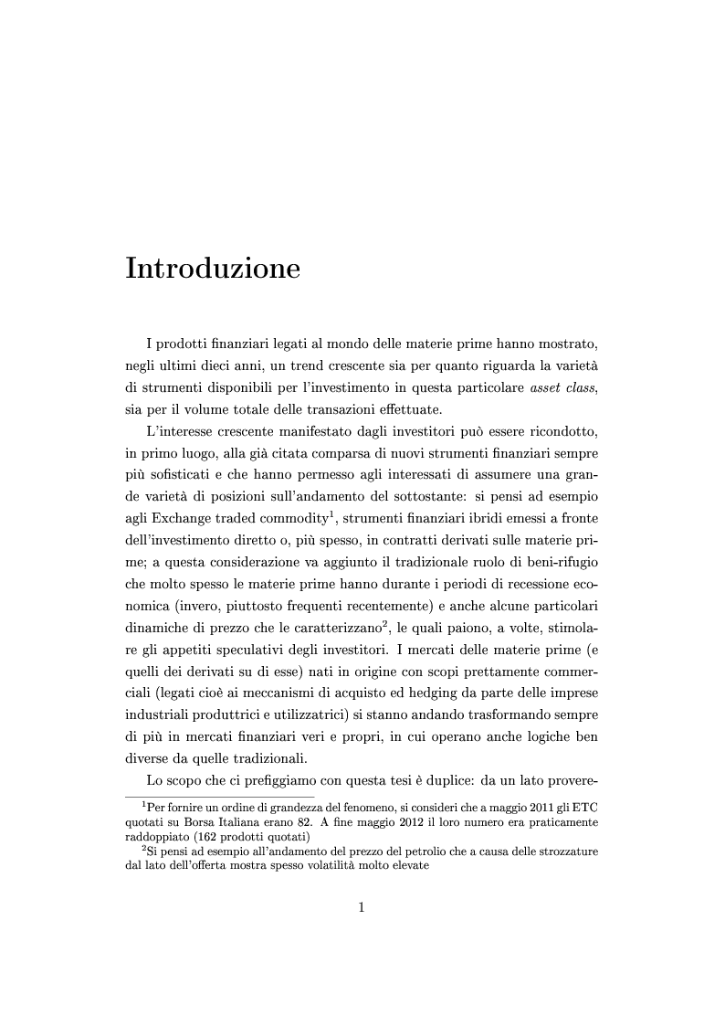 Anteprima della tesi: Mercato e prezzatura delle materie prime, Pagina 2