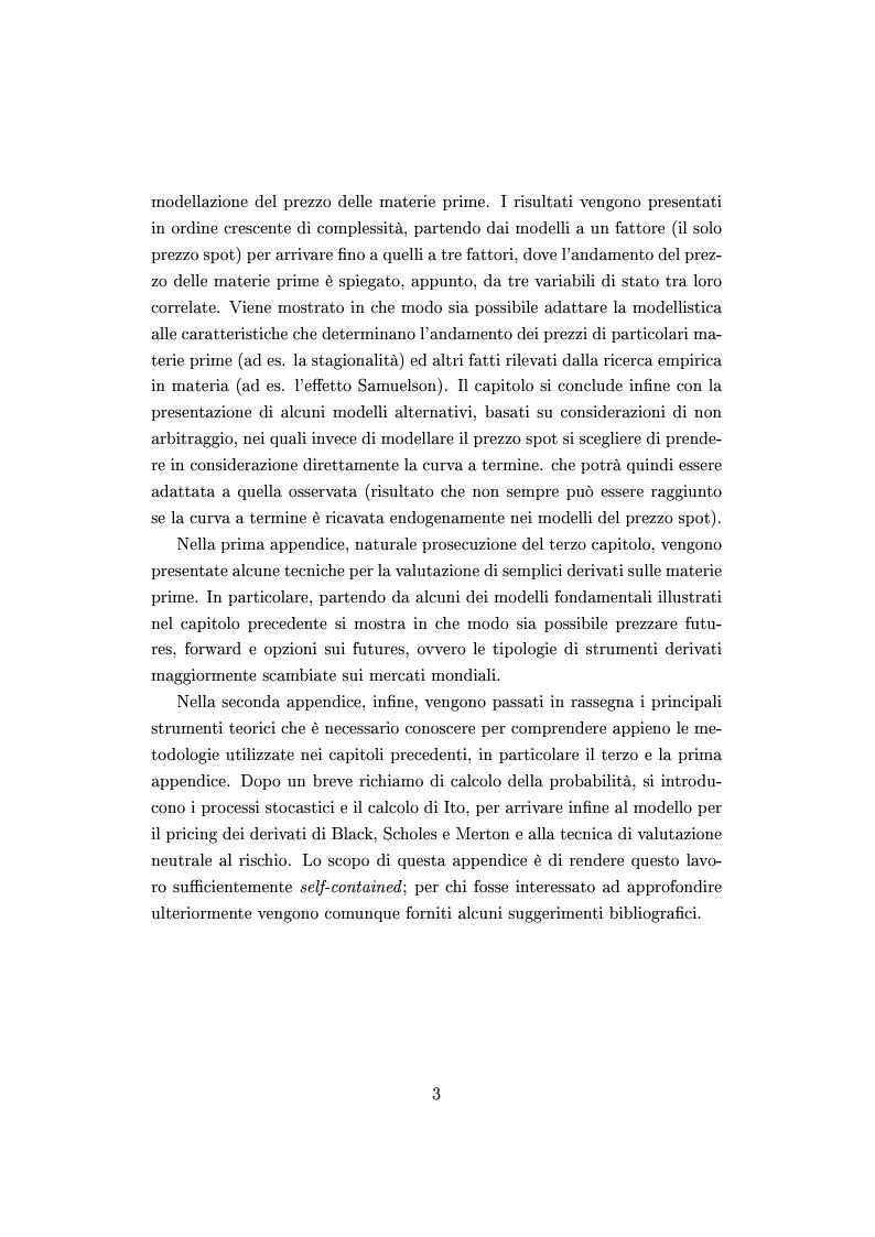 Anteprima della tesi: Mercato e prezzatura delle materie prime, Pagina 4