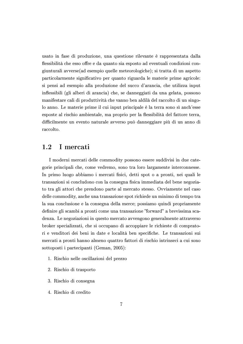 Anteprima della tesi: Mercato e prezzatura delle materie prime, Pagina 8