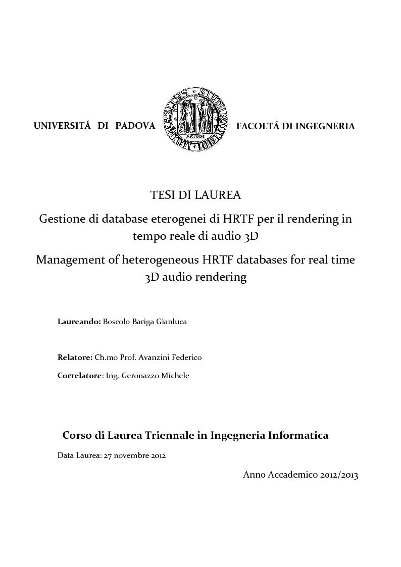 Anteprima della tesi: Gestione di database eterogenei di HRTF per il rendering in tempo reale di audio 3D, Pagina 1