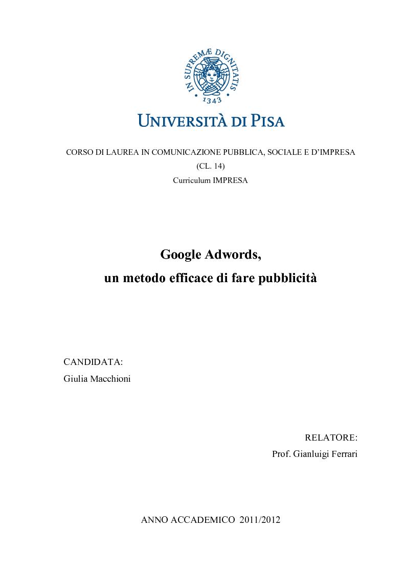 Anteprima della tesi: Google Adwords, un metodo efficace di fare pubblicità, Pagina 1