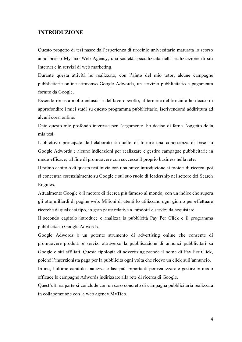 Anteprima della tesi: Google Adwords, un metodo efficace di fare pubblicità, Pagina 2