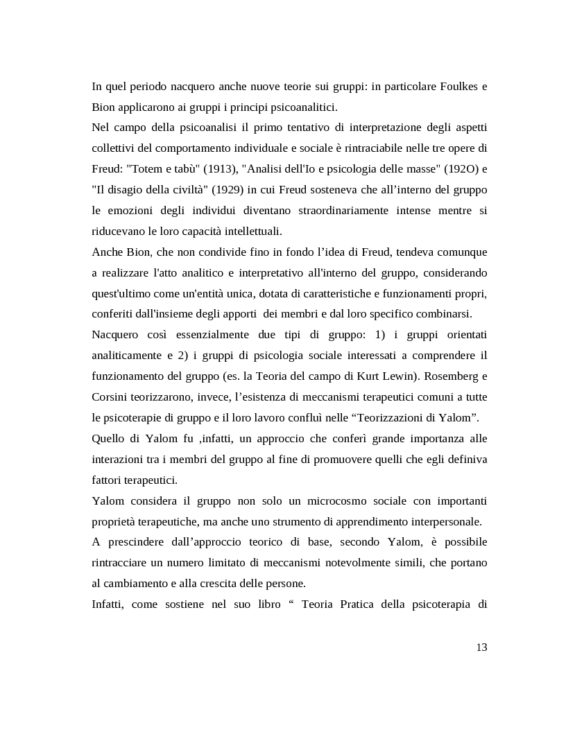Anteprima della tesi: Il gruppo. Fattori terapeutici ed affettivita. Un'esperienza tra pazienti bipolari, Pagina 10