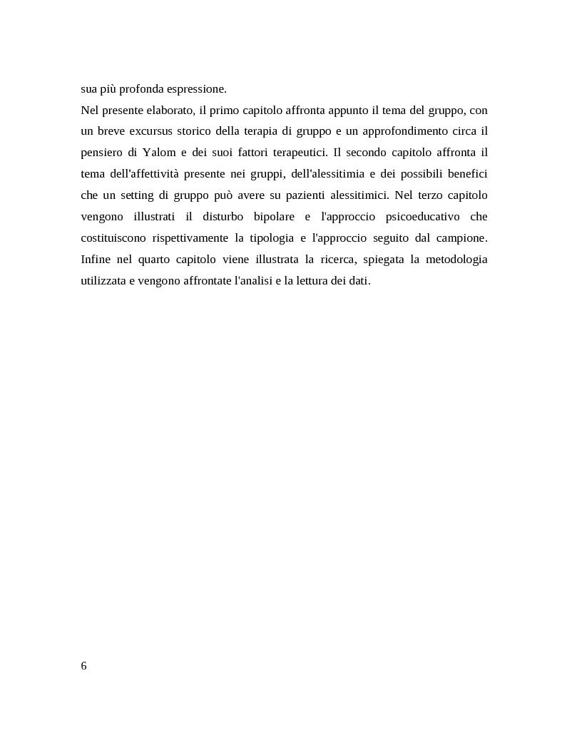 Anteprima della tesi: Il gruppo. Fattori terapeutici ed affettivita. Un'esperienza tra pazienti bipolari, Pagina 4