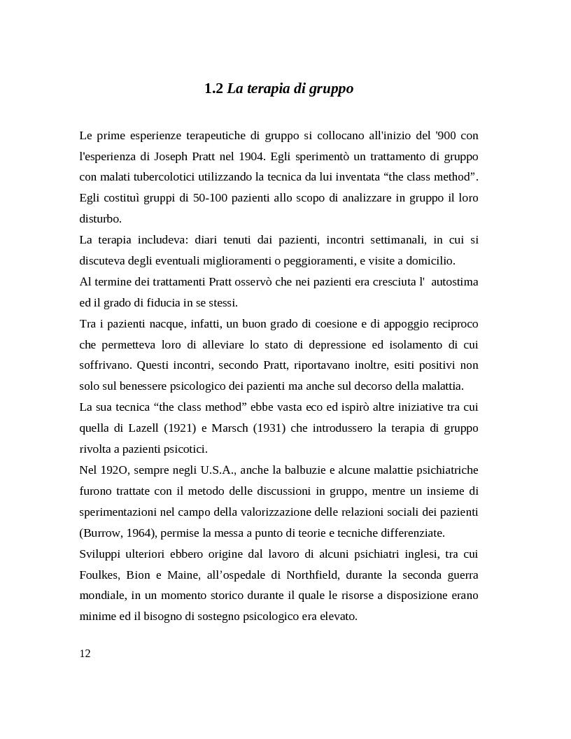 Anteprima della tesi: Il gruppo. Fattori terapeutici ed affettivita. Un'esperienza tra pazienti bipolari, Pagina 9