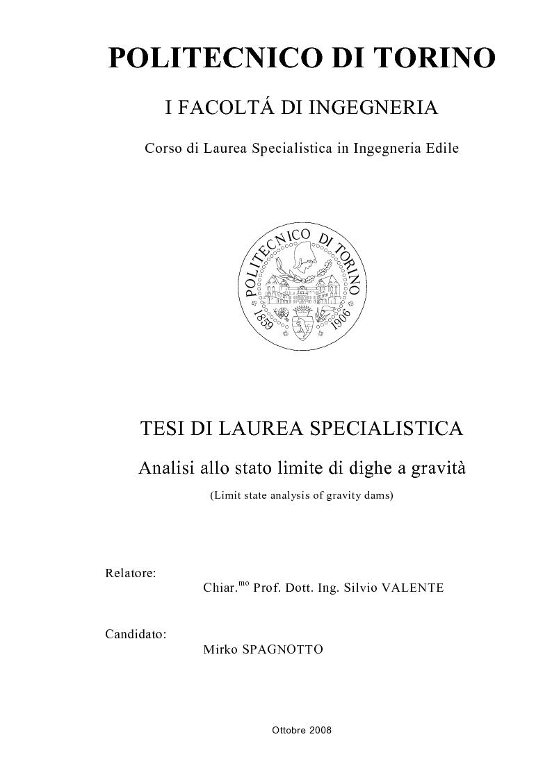 Anteprima della tesi: Analisi allo stato limite di dighe a gravità, Pagina 1