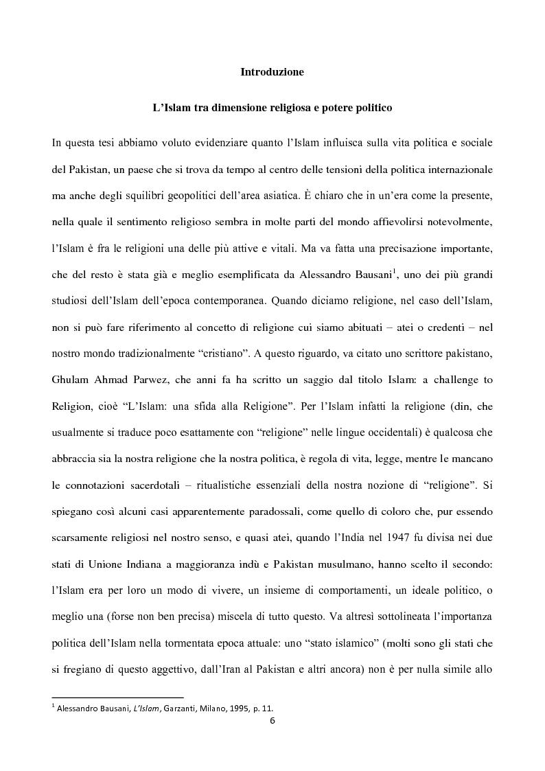 Anteprima della tesi: Islam, ideologia e sfera pubblica in Pakistan, Pagina 2