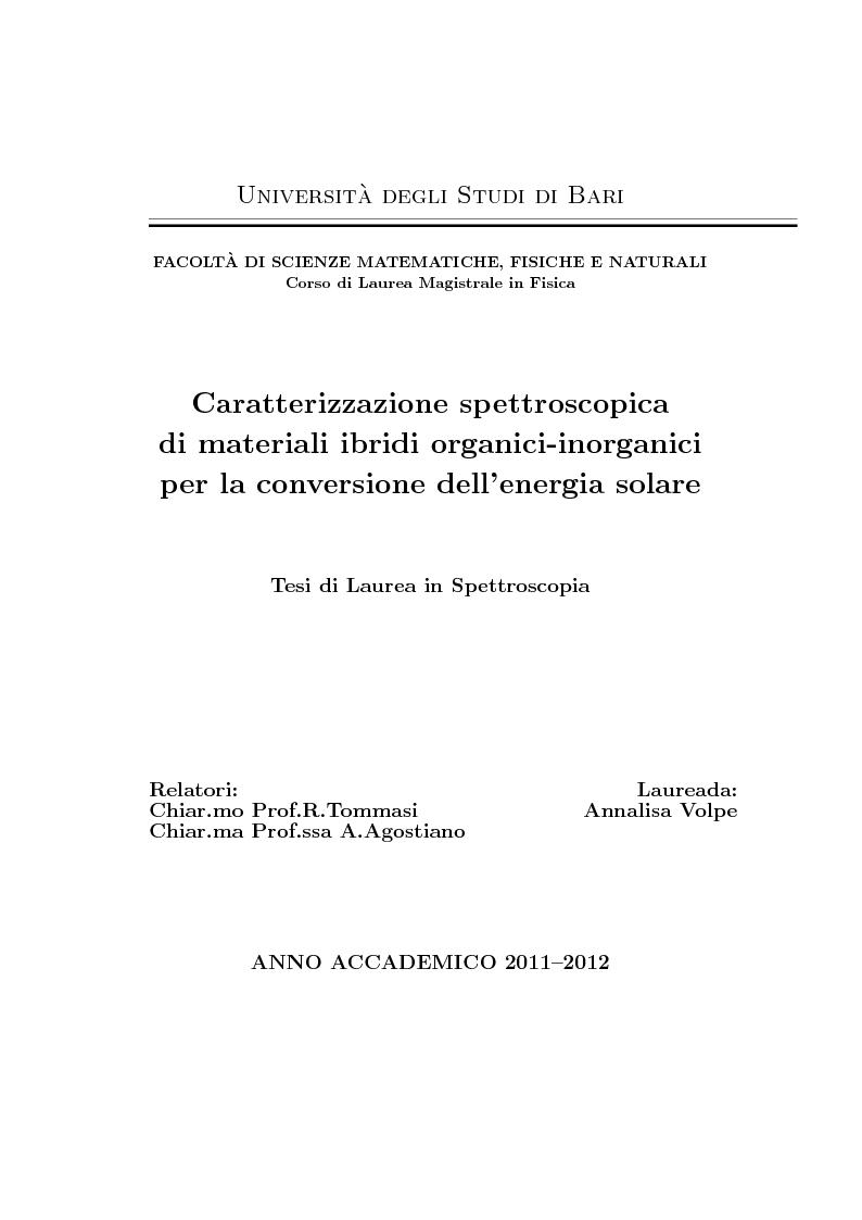 Anteprima della tesi: Caratterizzazione spettroscopica di materiali ibridi organici-inorganici per la conversione dell'energia solare, Pagina 1
