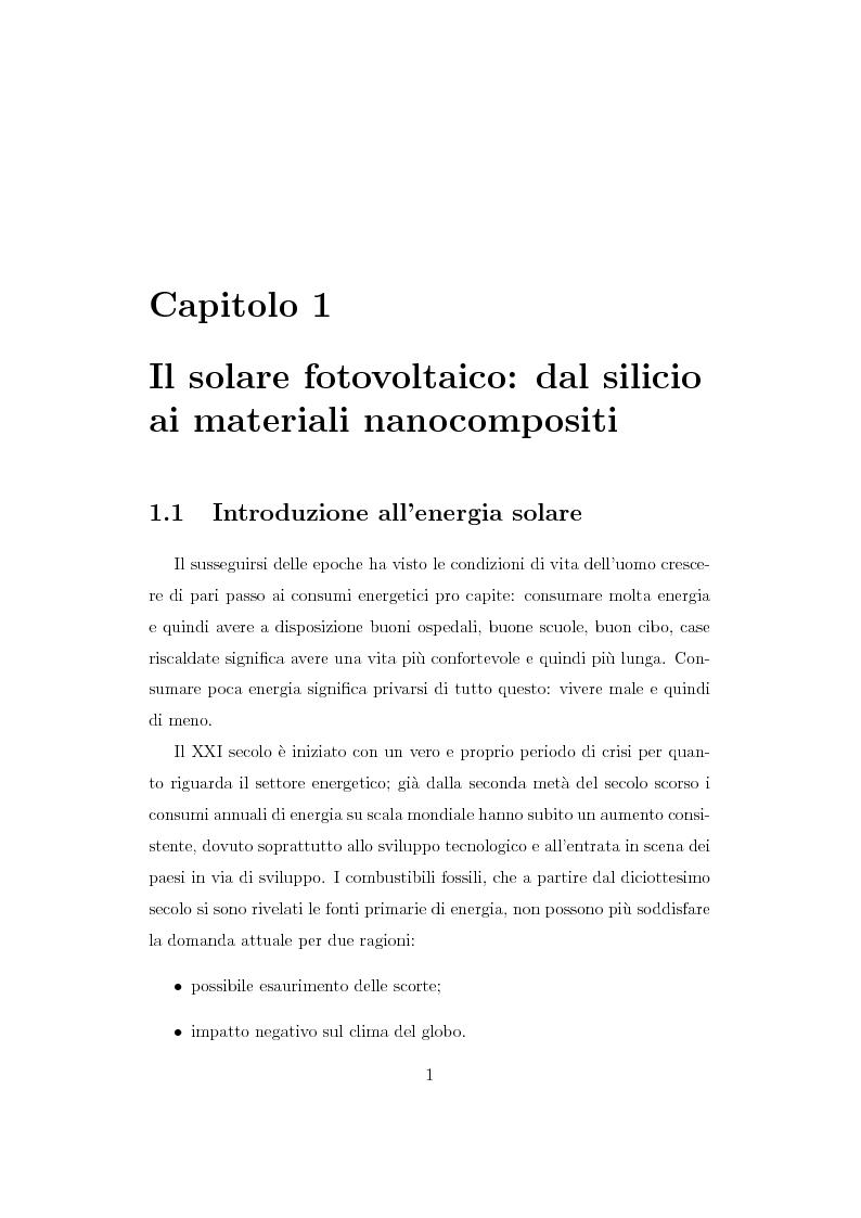 Anteprima della tesi: Caratterizzazione spettroscopica di materiali ibridi organici-inorganici per la conversione dell'energia solare, Pagina 2