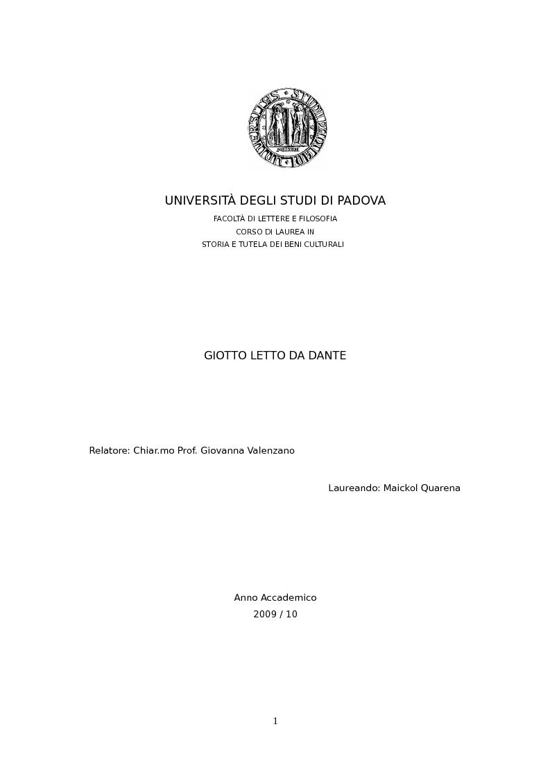 Anteprima della tesi: Giotto letto da Dante, Pagina 1