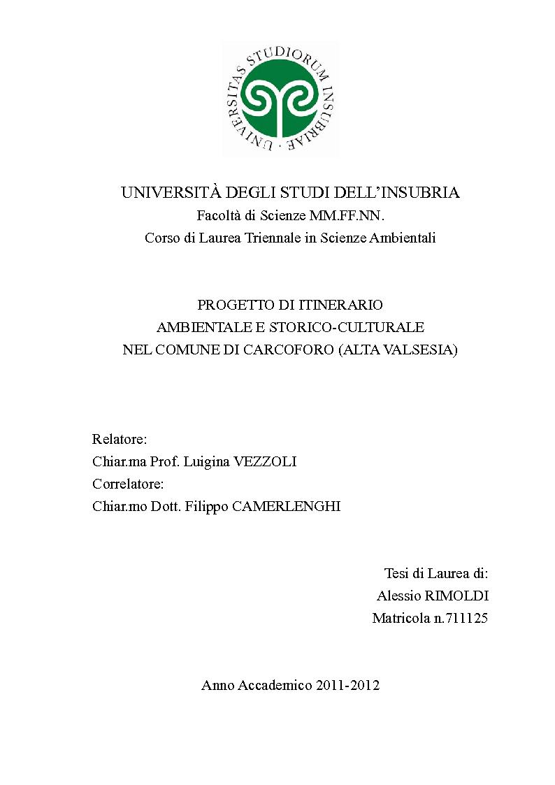 Anteprima della tesi: Progetto di itinerario ambientale e storico-culturale nel Comune di Carcoforo (Alta Valsesia), Pagina 1