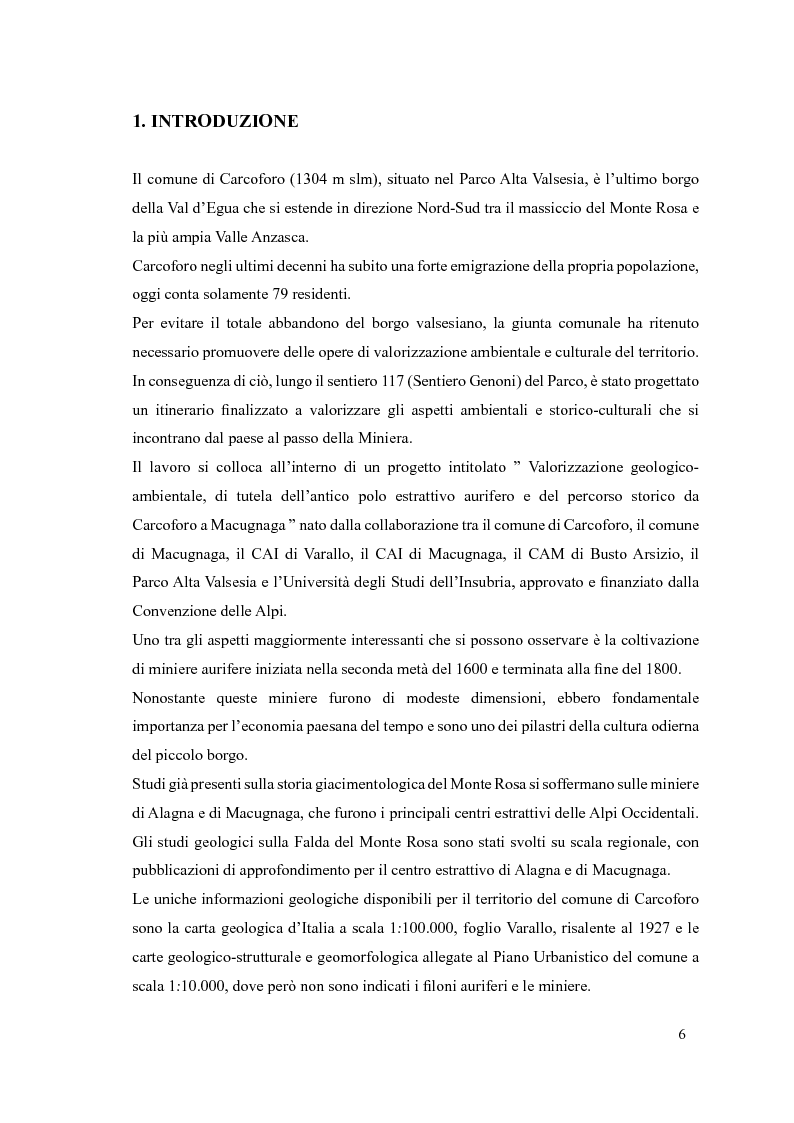 Anteprima della tesi: Progetto di itinerario ambientale e storico-culturale nel Comune di Carcoforo (Alta Valsesia), Pagina 2