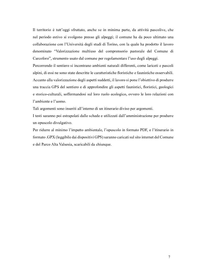 Anteprima della tesi: Progetto di itinerario ambientale e storico-culturale nel Comune di Carcoforo (Alta Valsesia), Pagina 3