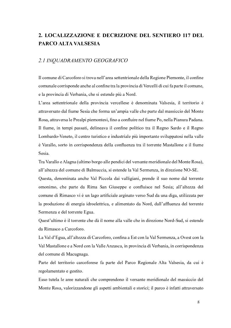 Anteprima della tesi: Progetto di itinerario ambientale e storico-culturale nel Comune di Carcoforo (Alta Valsesia), Pagina 4