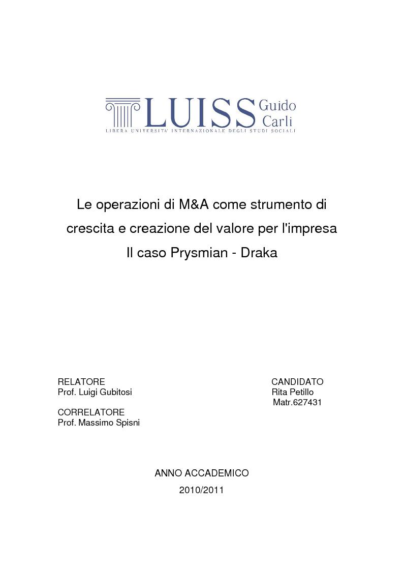 Anteprima della tesi: Le operazioni di M&A come strumento dicrescita e creazione del valore per l'impresa. Il caso Prysmian - Draka, Pagina 1