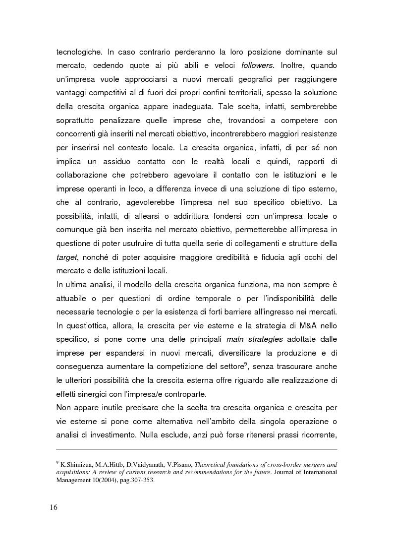 Anteprima della tesi: Le operazioni di M&A come strumento dicrescita e creazione del valore per l'impresa. Il caso Prysmian - Draka, Pagina 12