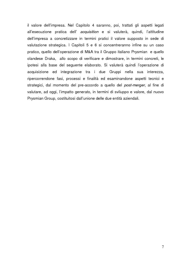 Anteprima della tesi: Le operazioni di M&A come strumento dicrescita e creazione del valore per l'impresa. Il caso Prysmian - Draka, Pagina 3