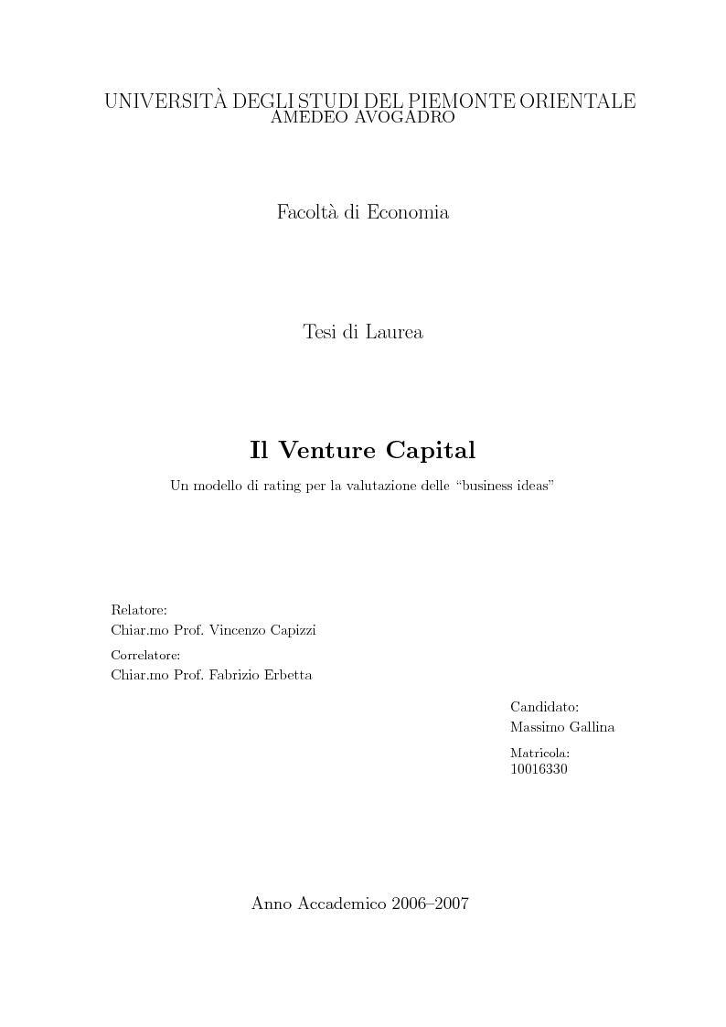 """Anteprima della tesi: Il Venture Capital. Un modello di rating per la valutazione delle """"business ideas""""., Pagina 1"""