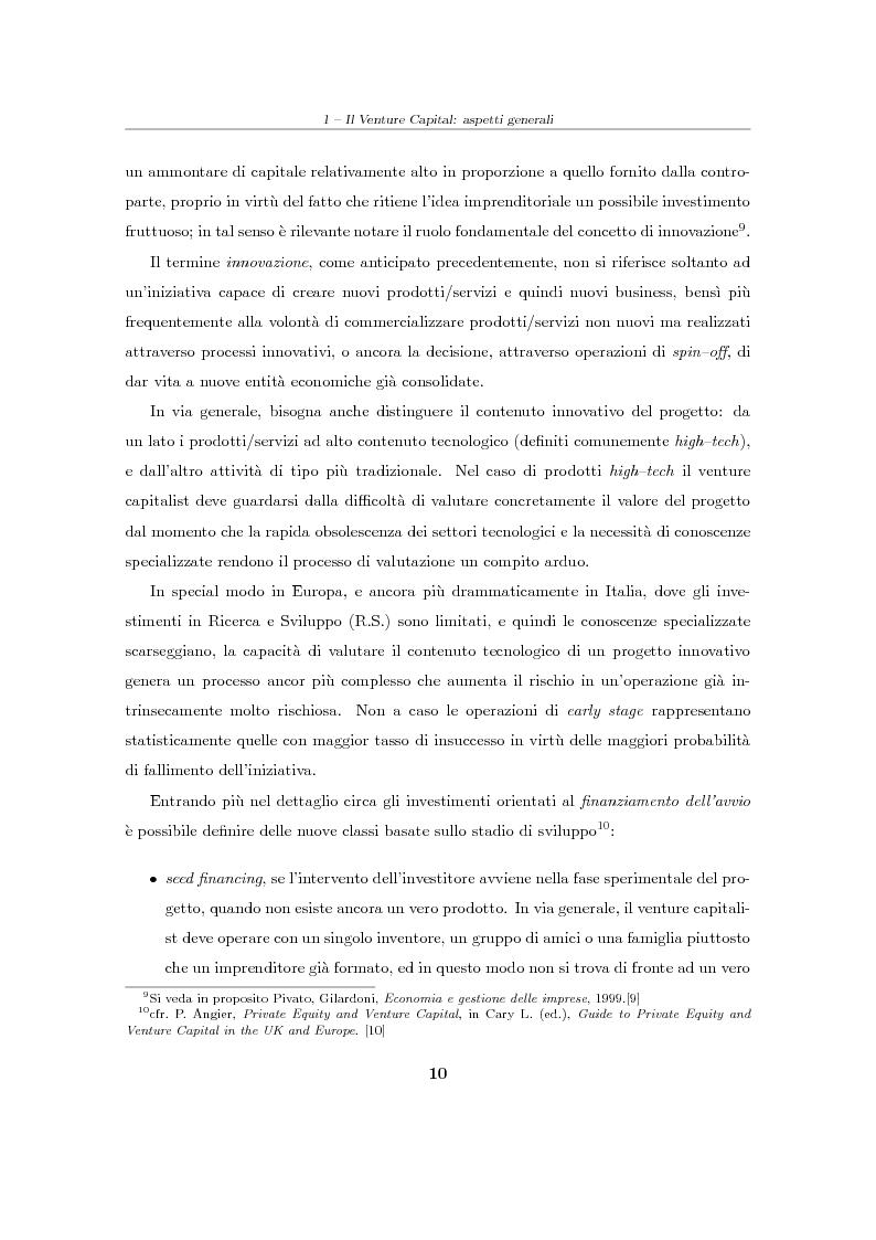 """Anteprima della tesi: Il Venture Capital. Un modello di rating per la valutazione delle """"business ideas""""., Pagina 11"""