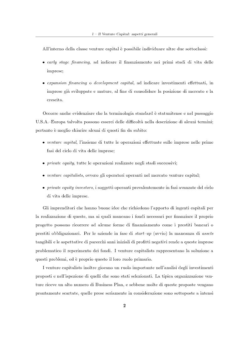 """Anteprima della tesi: Il Venture Capital. Un modello di rating per la valutazione delle """"business ideas""""., Pagina 3"""