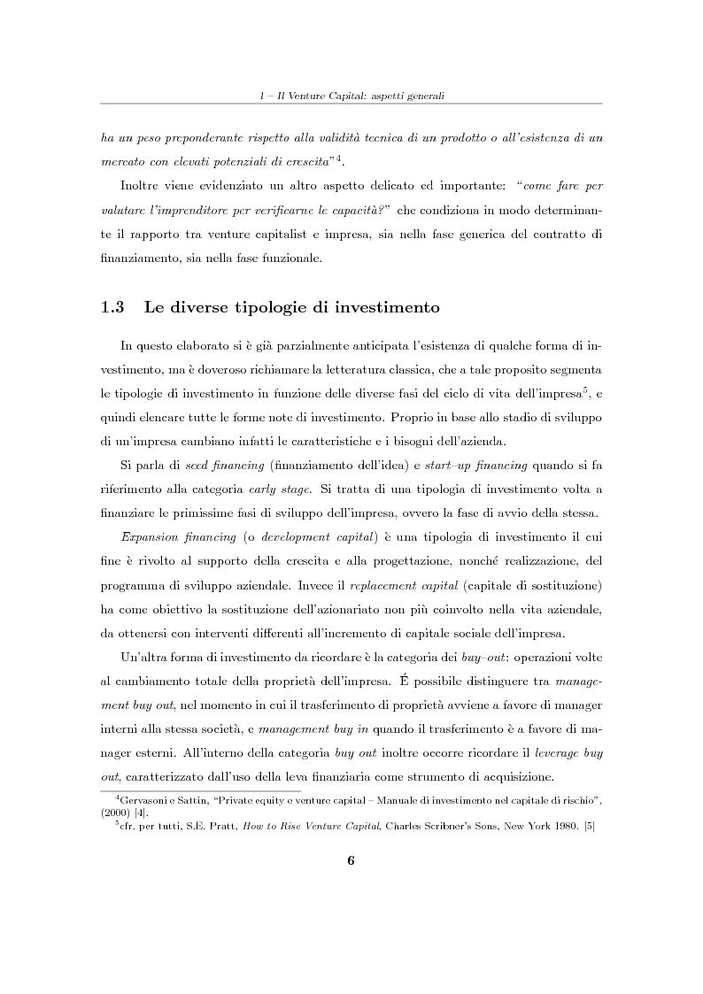 """Anteprima della tesi: Il Venture Capital. Un modello di rating per la valutazione delle """"business ideas""""., Pagina 7"""