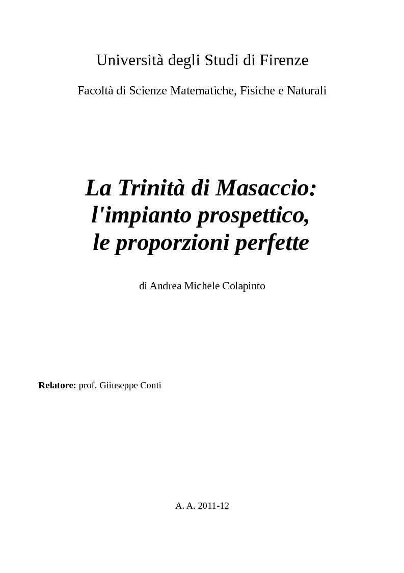 Anteprima della tesi: La Trinità di Masaccio: l'impianto prospettico, le proporzioni perfette, Pagina 1
