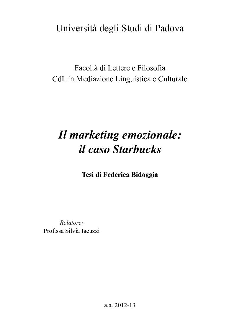 Anteprima della tesi: Il marketing emozionale: il caso Starbucks, Pagina 1