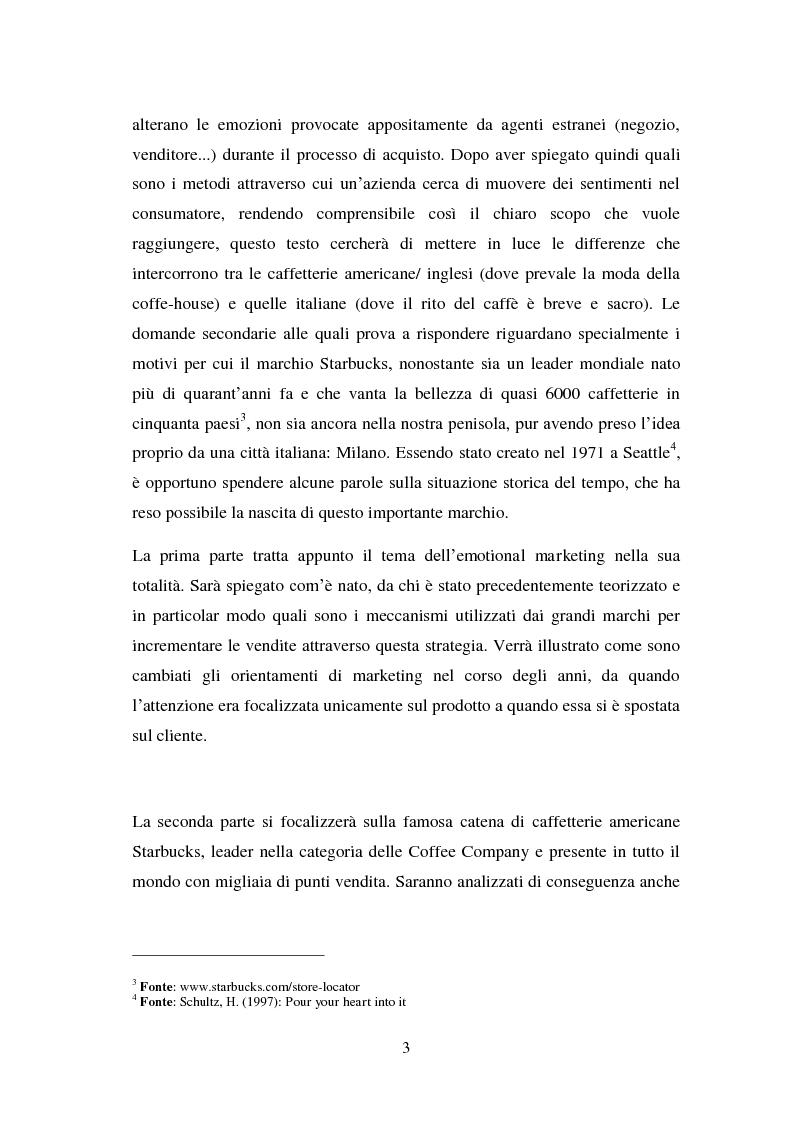 Anteprima della tesi: Il marketing emozionale: il caso Starbucks, Pagina 3