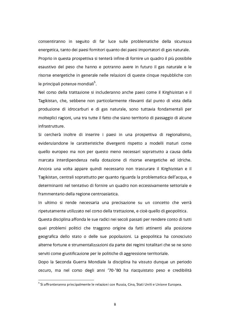 Anteprima della tesi: Dalla Via della Seta alla via del gas naturale: geopolitica e relazioni internazionali in Asia Centrale, Pagina 6