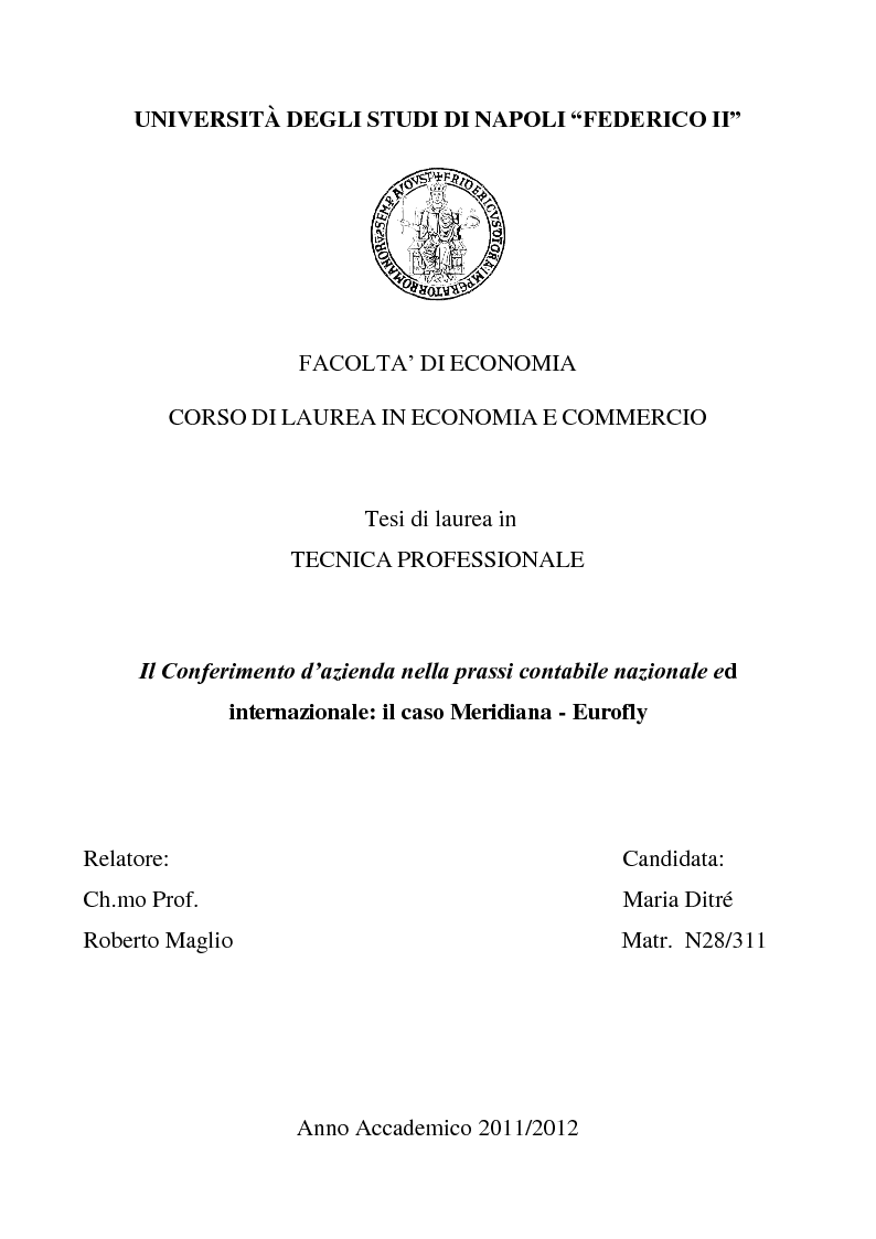 Anteprima della tesi: Il Conferimento d'azienda nella prassi contabile nazionale ed internazionale: il caso Meridiana-Eurofly, Pagina 1