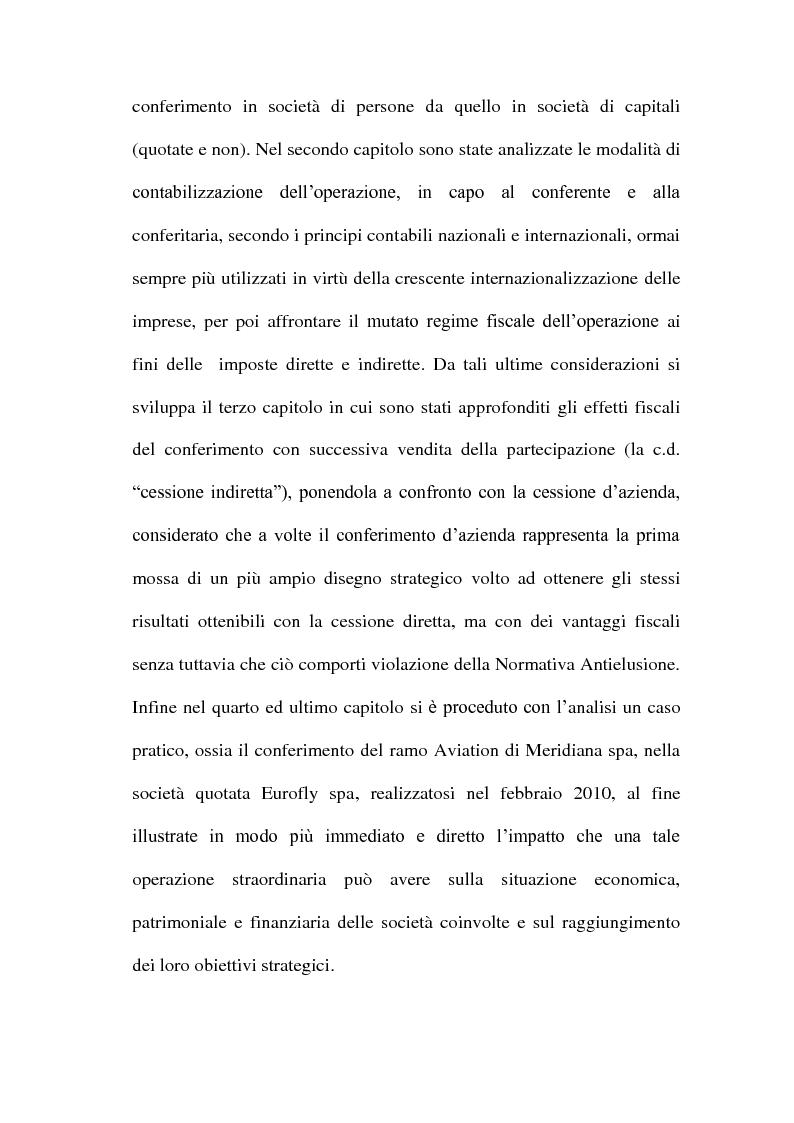 Anteprima della tesi: Il Conferimento d'azienda nella prassi contabile nazionale ed internazionale: il caso Meridiana-Eurofly, Pagina 5