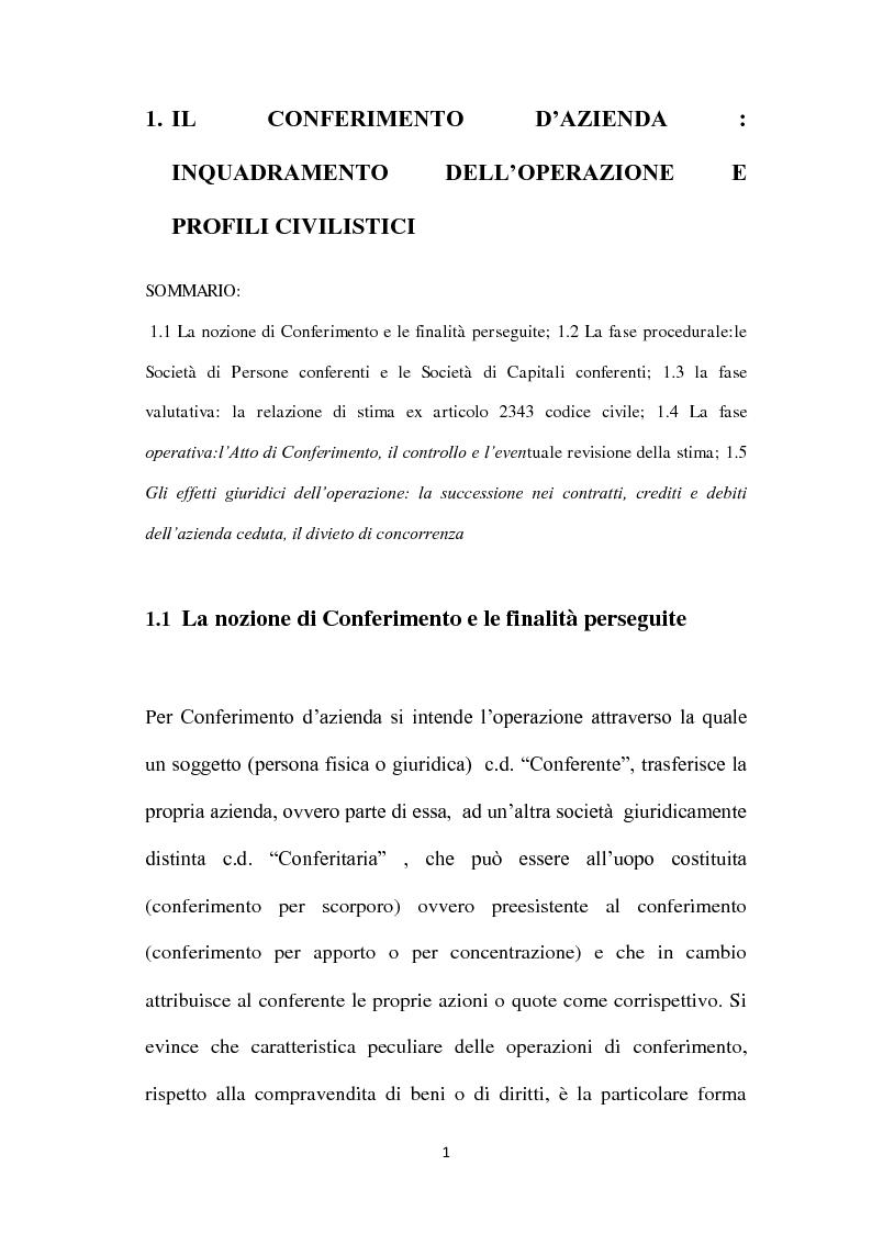 Anteprima della tesi: Il Conferimento d'azienda nella prassi contabile nazionale ed internazionale: il caso Meridiana-Eurofly, Pagina 6