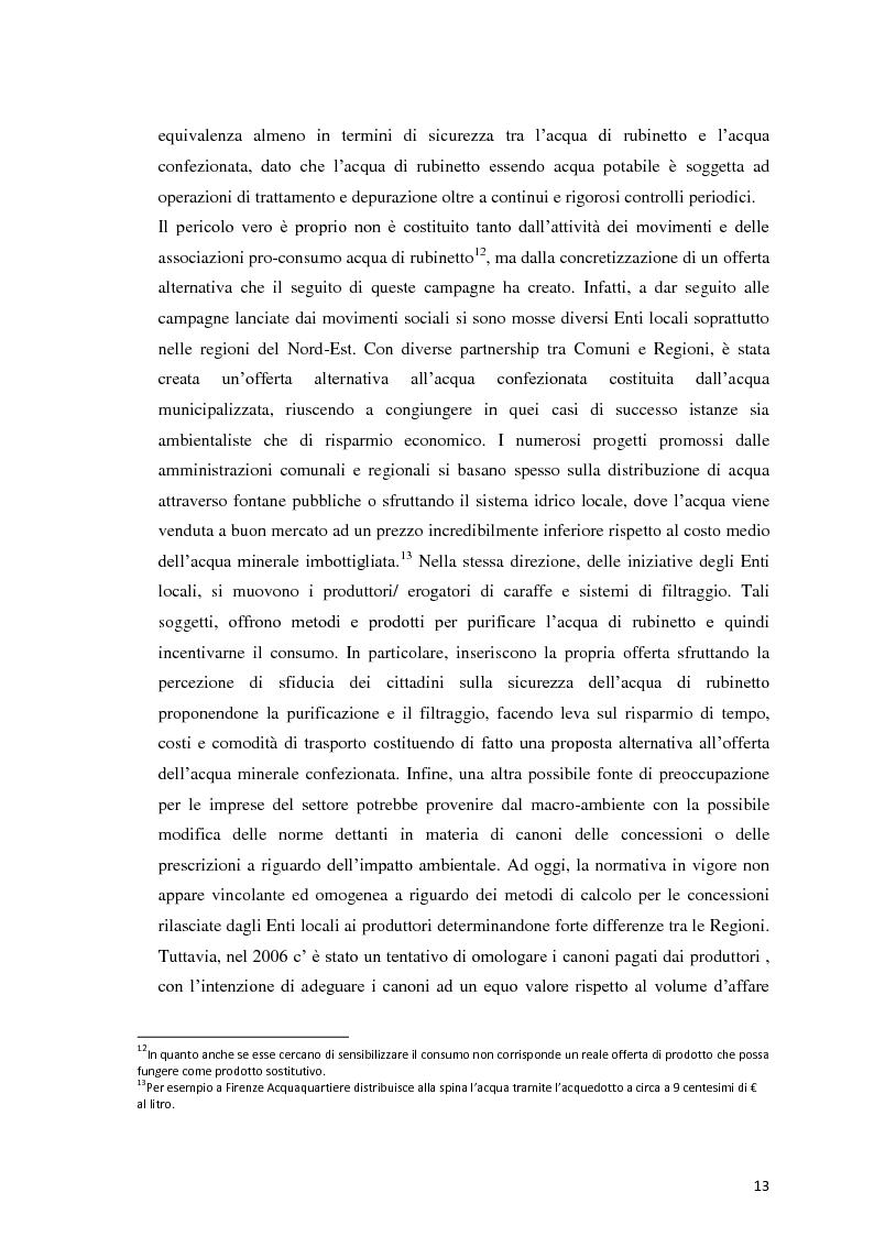 Anteprima della tesi: Analisi Economico-Finanziaria sul settore delle acque minerali, Pagina 12