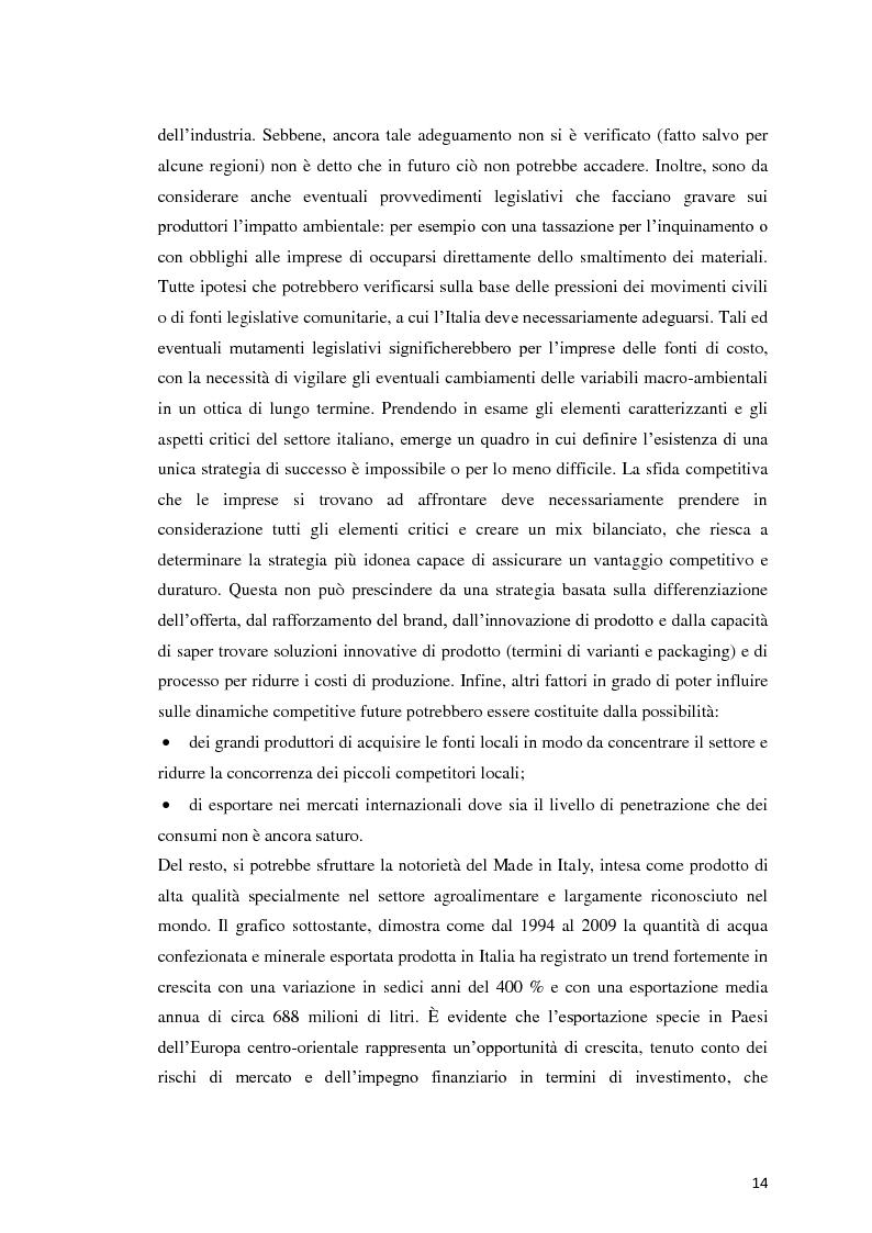 Anteprima della tesi: Analisi Economico-Finanziaria sul settore delle acque minerali, Pagina 13