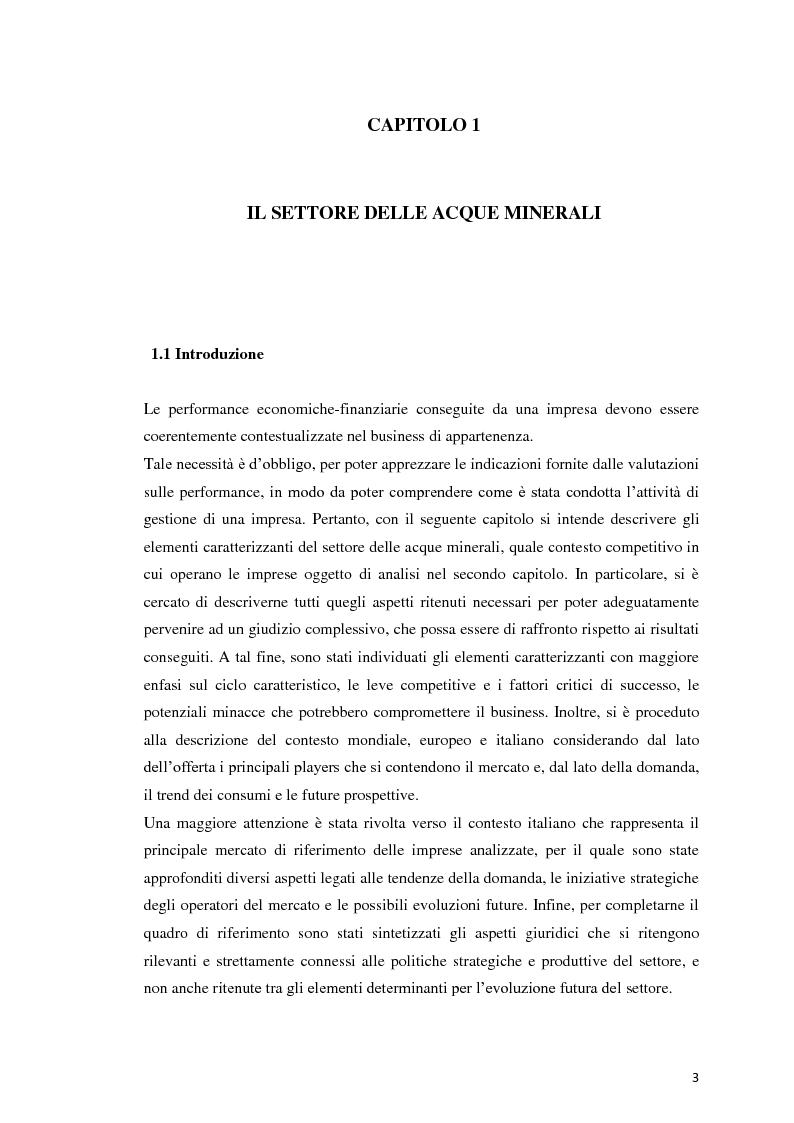 Anteprima della tesi: Analisi Economico-Finanziaria sul settore delle acque minerali, Pagina 2