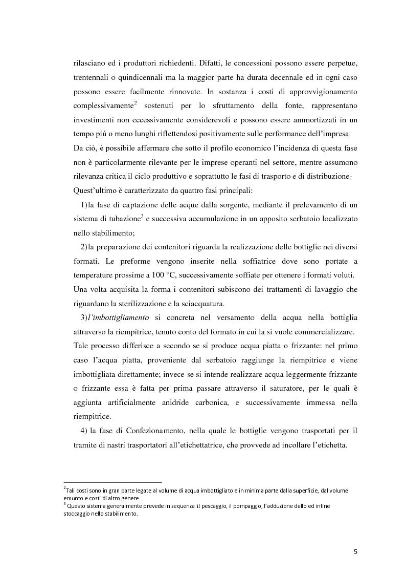 Anteprima della tesi: Analisi Economico-Finanziaria sul settore delle acque minerali, Pagina 4