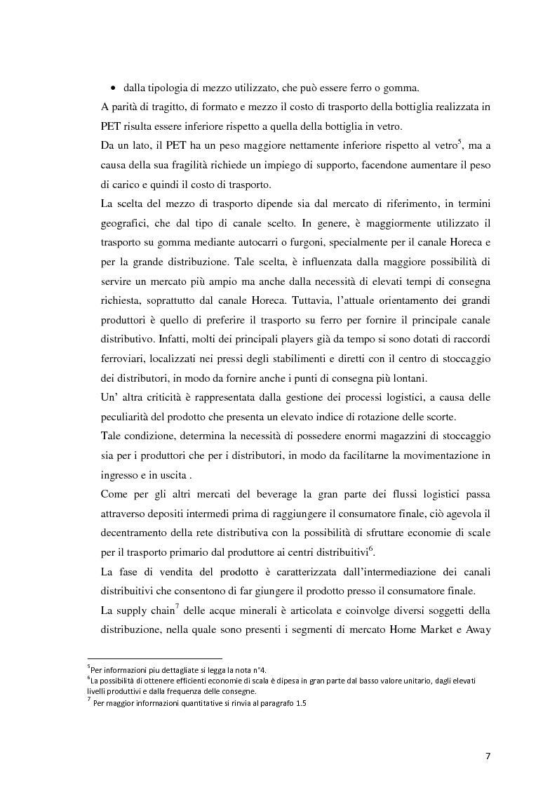 Anteprima della tesi: Analisi Economico-Finanziaria sul settore delle acque minerali, Pagina 6