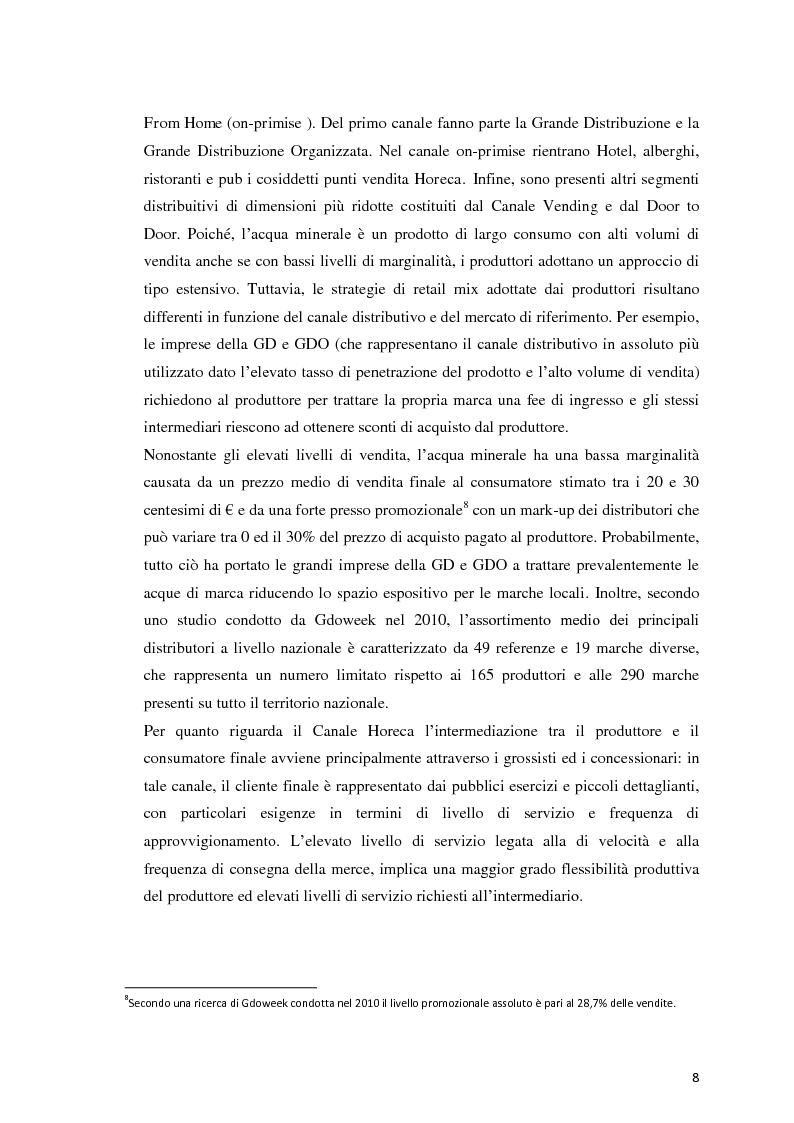 Anteprima della tesi: Analisi Economico-Finanziaria sul settore delle acque minerali, Pagina 7